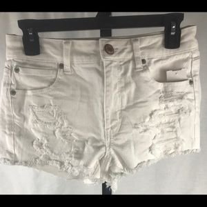 American Eagle distressed white denim shorts